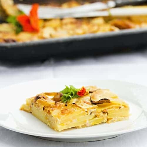 Gratinované – Zapečené brambory s cuketou